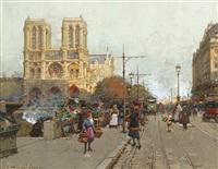 notre dame de paris, vue du quai de montebello by eugène galien-laloue
