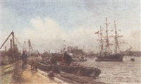 thames at charlton by francis seymour leslie