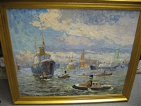 port scenery, hamburg by george william hill