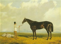 'retriever', a bay racehorse in a landscape with his trainer by john wray snow