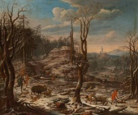 a winter landscape with wild boar hunting by anonymous-flemish (18)