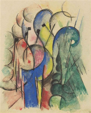 abstraktes aquarell ii by franz marc