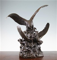 a 19th century french bronze group of two eagles attacking a goat by christophe fratin