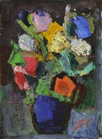 nature morte au bouquet de fleurs by pierre ambrogiani