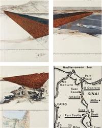 ten million oil drums wall, project for the suez canal (set of 3) by christo and jeanne-claude