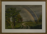 marsh scene with rainbow by peter caledon cameron