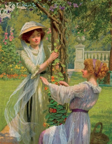 young women in a flower garden by w savage cooper