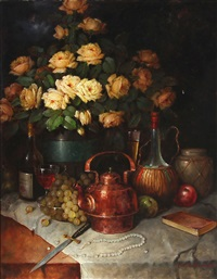 a still life with yellow roses, fruits, kettle, glass, bottles and a pearl necklace on a table by carl h. fischer