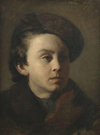 bildnis eines knaben in dunklem mantel mit pelzkragen und mütze in dreiviertelansicht nach rechts by franz seraph von lenbach