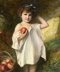 niña con manzanas by fernando alvarez de sotomayor y zaragoza