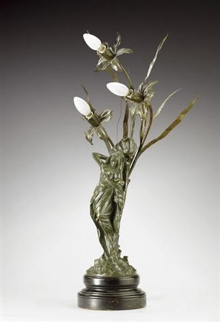 Nymphe als jugendstil lampe by louis chalon on artnet for Jugendstil lampen