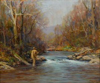 fly fisherman on a river by john frost