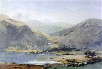 lake and mountain landscape with cattle watering by gladys wynne
