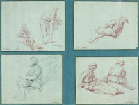 hommes tenant es paniers, study (+ 3 others, various sizes; 4 works) by pierre hubert subleyras