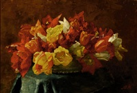 still-life with red and yellow tulips by marie heineken