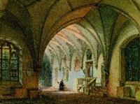 kreuzgang in einem kloster mit einem betenden mönch by simon quaglio