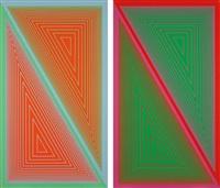 triangulated orange (+ triangulated green; 2 works) by richard anuszkiewicz