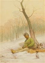 mending a snowshoe by charles caleb ward