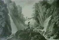 ziegenhirten beim uberqueren eines flusses by deodat roger