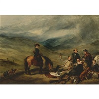 a shooting party regaling - a scene in the moors by william simson