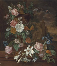 lillies, peonies, roses, carnations and other flowers in a sculpted urn on a shore ledge, with a statue a classical temple beyond by willem grasdorp