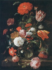 a still life of tulips, roses, blackberries, and other flowers in a glass vase, on a stone ledge by hendrik schoock