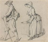 etude d'un homme de profil marchand avec une canne et d'une femme de profil portant un baquet (study) by etienne jeaurat