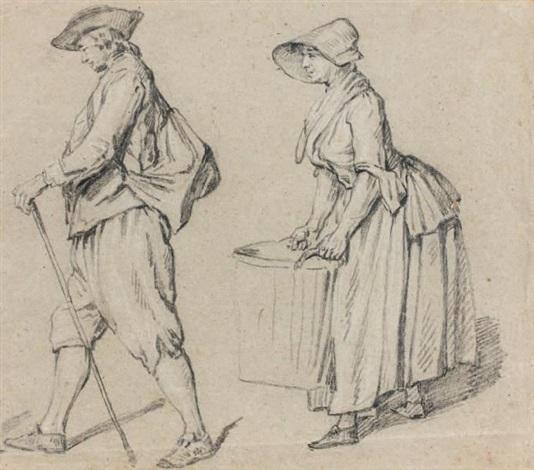etude dun homme de profil marchand avec une canne et dune femme de profil portant un baquet study by etienne jeaurat