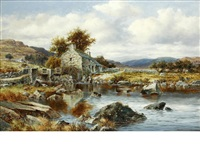 old mill near towy, north wales by william henry mander