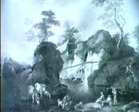 pastori e armenti all'abbeverata by luigi basiletti