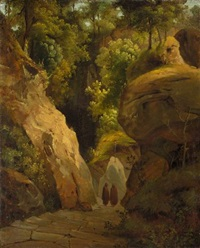 monks on the steps through a rocky gorge (the steps to the grotta di san francesco alla verna) by karl blechen