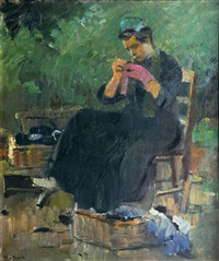 sewing woman by otto rauth