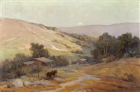 horses tied near a homesteader's cabin in an extensive california landscape by jack wilkinson smith