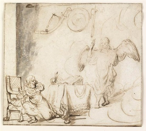angel appearing to gideon by rembrandt van rijn