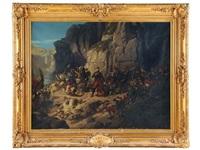 le lieutenant-colonel espinasse soutenant un combat d'arrière garde. campagne de kabylie. by jules rigo