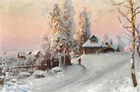 winter in a russian village at sunset by valerian vitalievich babadin