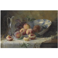 a still life with peaches and a porcelain bowl by louise coupé