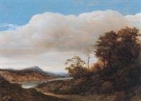 eine bewaldete flusslandschaft by cornelis hendriksz vroom