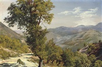 a mountain view with a path by giovanni battista camuccini