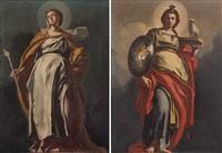 a) allegoria della fede b) allegoria della divina sapienza (pair) by francesco solimena