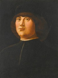 portrait of a gentleman in a black cap with an elaborate zazzera by alvise vivarini