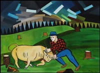 old canadian forcing the bull to submit, canadian legend by claude picher