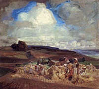 harvest time with figures in a wheat field by carl forup