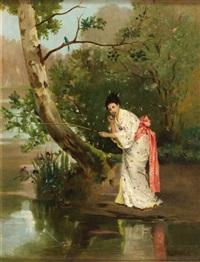 jeune femme en kimono, pêchant à la ligne by auguste toulmouche