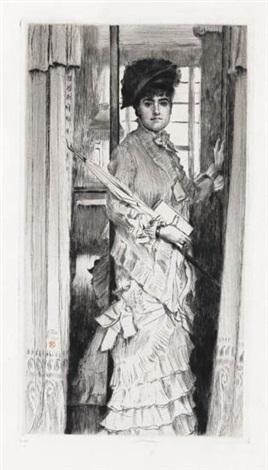 portrait de miss l ou il faut quune porte soit ouverte ou fermée by james jacques joseph tissot