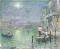 venetian gondolas in moonlight (+ 2 others; 3 works) by alan stenhouse gourley