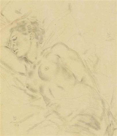 nu allongé by léonard tsuguharu foujita