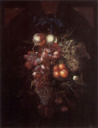 a still life of apples, red and white grapes, peaches and cherries hanging from a blue ribbon, with a butterfly, in a niche by nicolaes van gelder