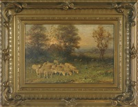 sunset pastoral landscape with flock of sheep, cottage in the distance by george reicke