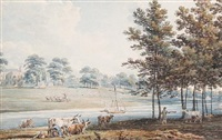 the grounds of oatlands, seat of the duke of york by edward dayes